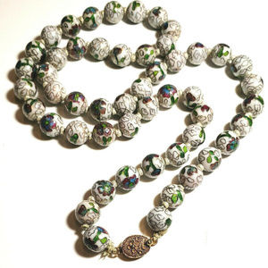 Vintage White Cloisonne Beaded Knotted Necklace